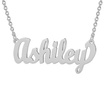 Small Sterling Silver Personalized Cursive Name Necklace Fine Laser Cut Jewelry SN02