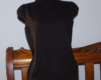 CAMAIEU BROWN Cotton Angora Brown Cap Sleeve Turtleneck Women Sweater Size:SMALL
