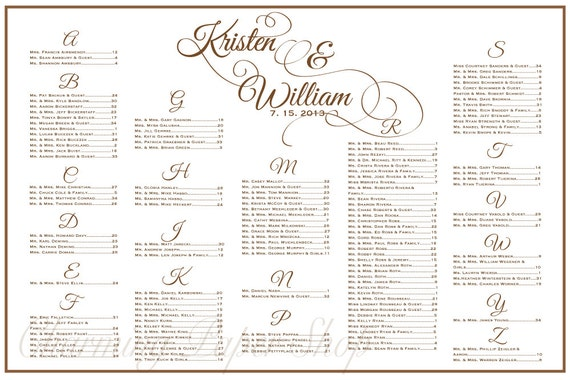 Wedding Seating Chart Table Seating Assignments Reception