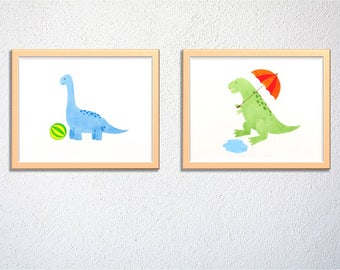 Cute dinosaur wall art set of 2, brachiosaurus T-rex, nursery decor, kids and baby room decor - digital file - Instant download