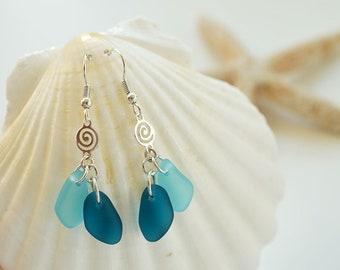 Blue sea glass earrings dangle earrings blue jewelry blue seaglass earrings sea seaglass jewelry bridesmaids earrings bridesmaids jewelry