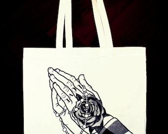 The Praying Hands Tote Bag - Hand Screen printed