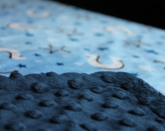 Minky Blanket Blue Horseshoe Cowboy Print with Blue Dimple Dot Minky Blanket - perfect blanket for a baby or toddler, stroller blanket