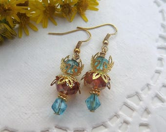 Crystal Rondelle Earrings Orange and Blue Gold Plated