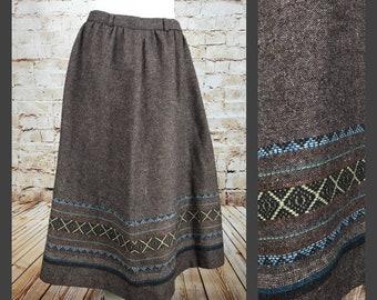 Women's Vintage Tweed Wool Boho Tribal Skirt - Tribal Print Skirt - Large - Size 14 Boho Chic Skirt - Bohemian Skirt
