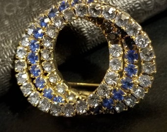 Blue rhinestone  stacked circle brooch,pin ,jewelry, fashion jewelry
