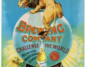 Vintage Brewery Poster - LION Kamm and Schellinger Brewing Co INDIANA Beer Poster to Frame