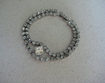 Vintage Rhinestone Bracelet, Double Strand,  Bride Wedding Formal, Bridesmaid MOB, Elegant Minimalist, Costume Jewelry, Authentic Vintage
