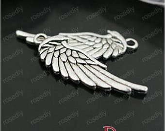 10 33 * 11mm wings E26996 Metal Silver wings charms