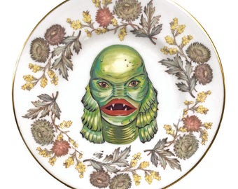 Vintage - Illustrated - Creature from the Black Lagoon  Saucer Plate -  Altered Plate - Antique - Upcycled - Horror - Monsters
