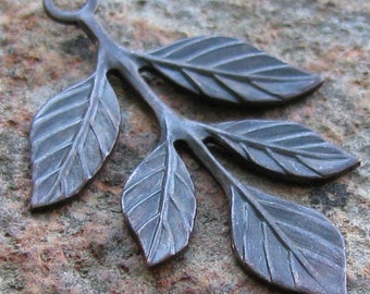 6 Bronze Patina leaf Charm Drop Botanical Jewelry Finding 866