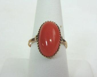 Women's Vintage Estate 10K Gold Ring w/ Carnelian Stone, 3.1g E3301