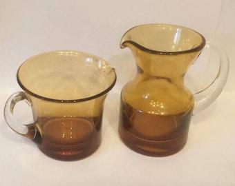 Pair of Whitefriars Amber jugs