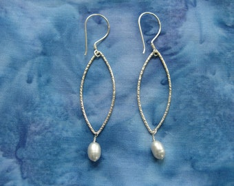 Gray pearl earrings on sterling silver textured wire