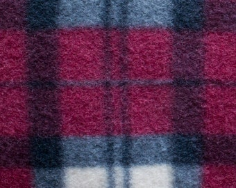 Maroon Plaid Print Fleece Fabric by the yard