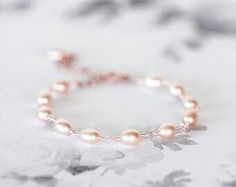 617_Peach pearl bracelet, Rose gold bracelet, Pink pearls jewellery, Women's gift, Rose jewellery, Gift for girlfriend, Wedding bracelets.