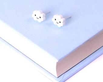 Cloud Earrings / Kawaii Earrings / Kawaii Jewellery / Cloud Studs Earrings Studs / Stocking Fillers Stocking Stuffers / Gifts For Teenagers