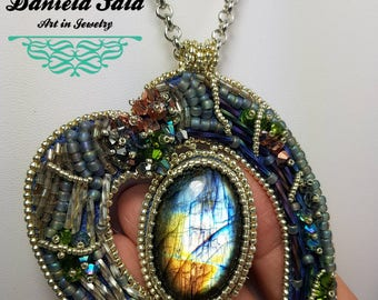 "Bead embroidery necklace ""Labradorite heart necklace """