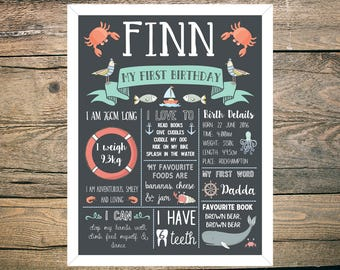 First Birthday Chalkboard Sign Poster - Digital / Printable - Nautical - Ocean - Fish - Boat - Sea - Blue - Green - Whale Theme
