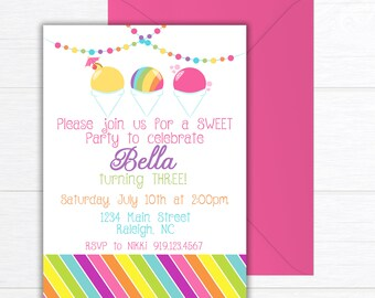 Snow Cone Birthday Party Invitation, Birthday Party Invite, Snowball Party, PRINTABLE Birthday Party Invitation, Ice Cream Birthday Party