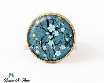 Ring * Sakura flowers Japanese * fantasy glass blue gem cabochon