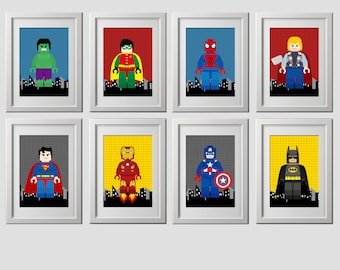 superhero wall art PRINTS, PRINTED super hero wall art, superhero wall decor, superhero wall art, set of 8 (8x10) inch, shipped to your door