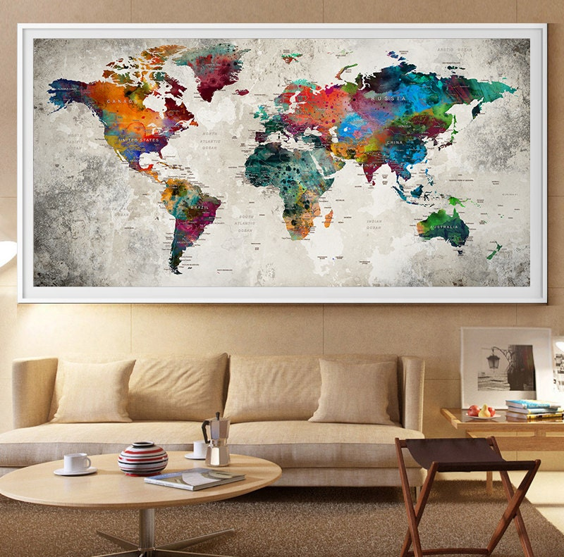 Gran mundo mapa pared lámina poster de mapa viajes arte