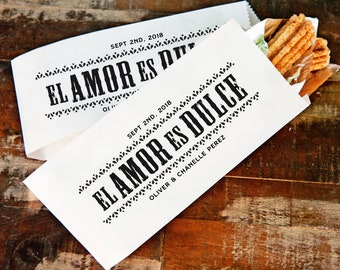 Churro Wedding Favor Bag - Amor es Dulce - Personalized Food Favor - 20 Popcorn Bags per Pack - Buy More and Save