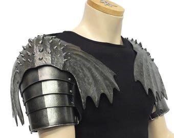 Larp Armor, Winged Pauldrons, shoulder armor, cosplay armor, elven armor, dragon scale