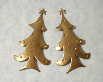 Vintage Christmas Tree Brass Stamping with Stone Settings (2 pcs)