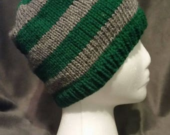 Hand-Knit Green and Gray Striped Beanie