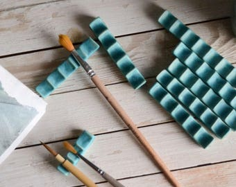 Pottery Turquoise Paintbrush Rest - Calligraphy Material