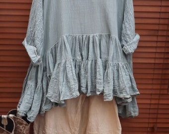 RITANOTIARA 12m fabric Romy Cotton silk voile tiers boho Prairie tiered Oversized Top All Sizes Mid West Prairie Shabby Chic Boho Lagenlook