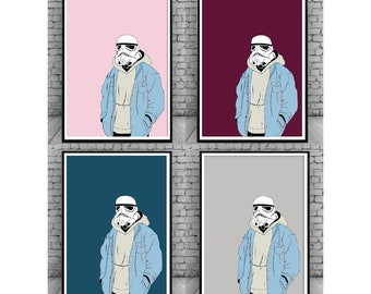 Storm Trooper Gangster;Gangster;Star Wars;Trooper;The Dark Side;Retro;Wall Hanging;Home Decor;Wall Print;Poster;Wall Decor;A5/A4/A3