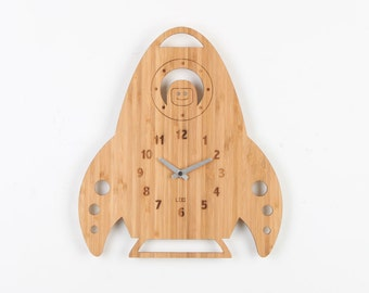 Bamboo Wood Kids Wall Clock -  Rocket