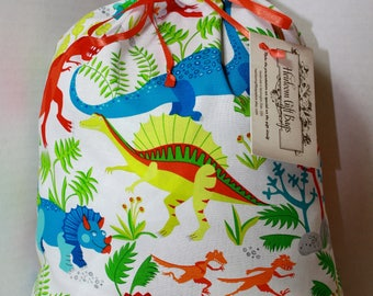 Cloth Gift Bags Fabric Gift Bags Dinosaurs Childrens Medium Gift Sacks