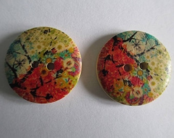 6 buttons 25mm reason flowers with 2 holes wooden cutout