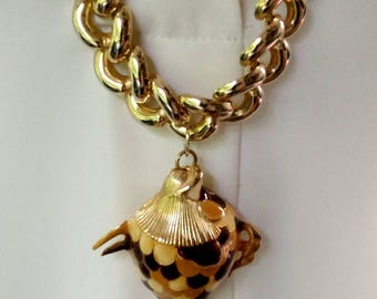 Golden Goldfish Necklace