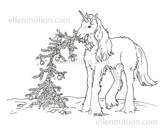 Unicorn Christmas Tree Digi Stamp Digital Coloring Page For Christmas Cards Or Coloring