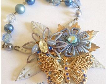 Periwinkle Blue Vintage Butterfly Enamel Flower Statement Necklace - OOAK