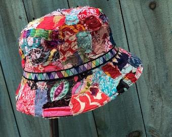 bohemian hippie tattered wearable art fabric bucket hat hippie festival
