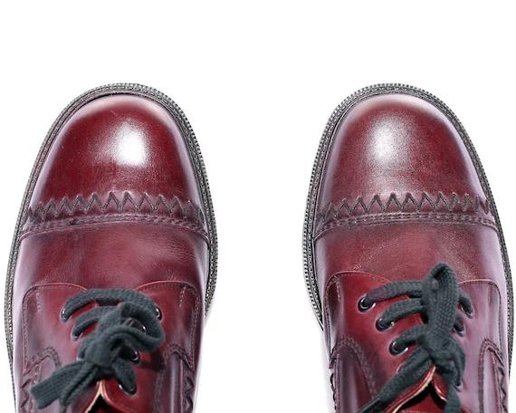 Derby 7 Dress EUR 41 Wedding Luxury Brogues 8 US Shoes Shoes Burgundy Shoes UK Retro Leather Cap Vintage 70s Oxfords Toe Elegant 5 men qwCB6Y