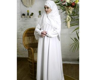 White Maxi Dress,Wedding Abaya, Oversize dress, Muslim bridal clothing, Basic dress, Elegant dress, Plus size dress,Burqa long sleeve