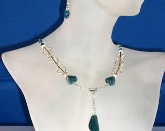 Apatite, Sterling Silver, glass bead Necklace, Earrings