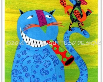 """Cat collage art, 8 x 10"""" giclee print, Whimsical cat and bird art, Grinning cat collage, Cat lover gift, Colorful cat decor, Sombrero art"""