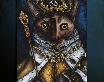 Queen Elizabeth Cat, Tudor Cat Art 5x7 Archival Print