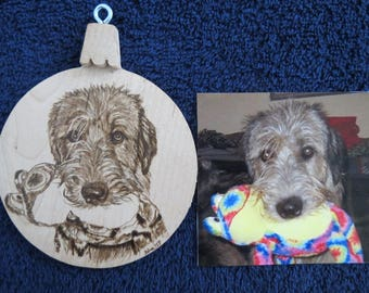Pet Portrait Wood Burn Solid maple Ornament Made to Order using provided photo Irish Wolfhound by Shannon Ivins