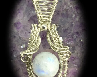 Moonstone bead pendant shaman styled in sterling silver to enhance your shine