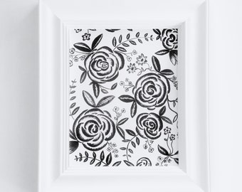 Hand Painted 8x10 Black and White Floral Print - FRAMED