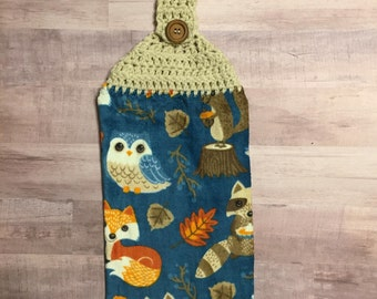 Crocheted Top Dish Towel - Autumn Animals